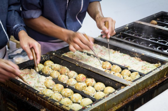 Japanese takoyaki balls at a food market